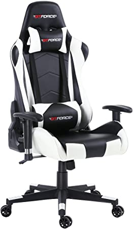 GTFORCE PRO FX Reclining Sports Racing Gaming Office Desk PC CAR Faux Leather Chair (White)