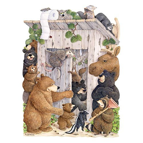 Bits and Pieces - 750 Piece Shaped Puzzle - Whose Turn Is It? Outhouse, Forest Animal Party - by Artist Jeffrey Severn - 750 pc Jigsaw