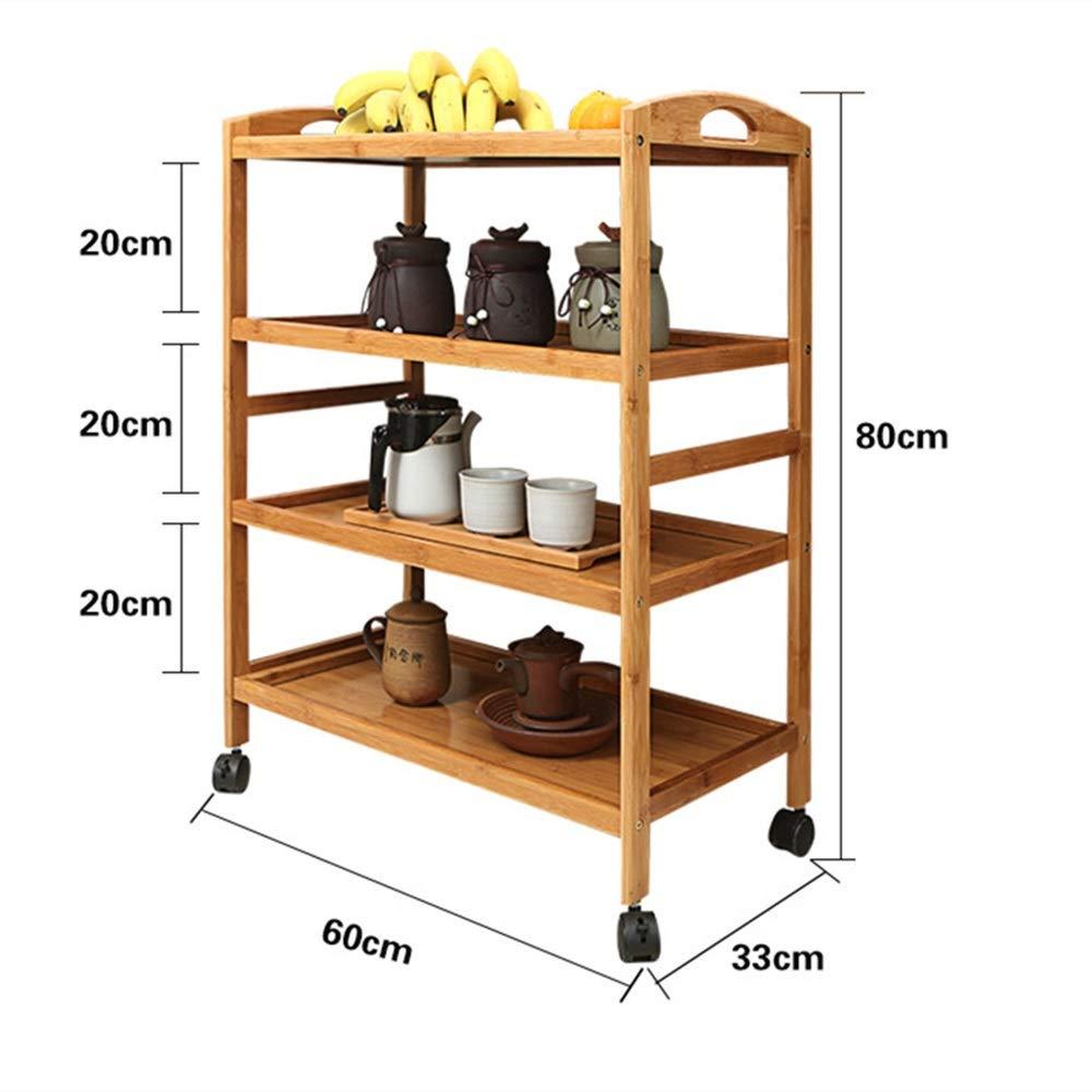 Luosky Mobile Dining Car Bamboo Tea Car Kitchen Hotel Hotpot Dish Rack Multifunctional Wheeled Shelf Solid Wood Cart