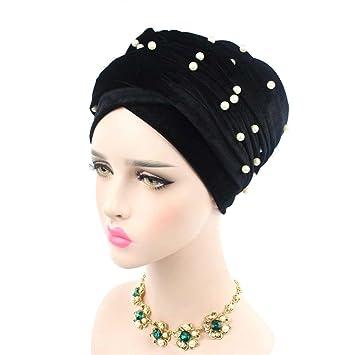 Long Turban Headband Beaded Studded Pearled Extra Muslim Women Turban Head  Wraps Black with white abb86e85385