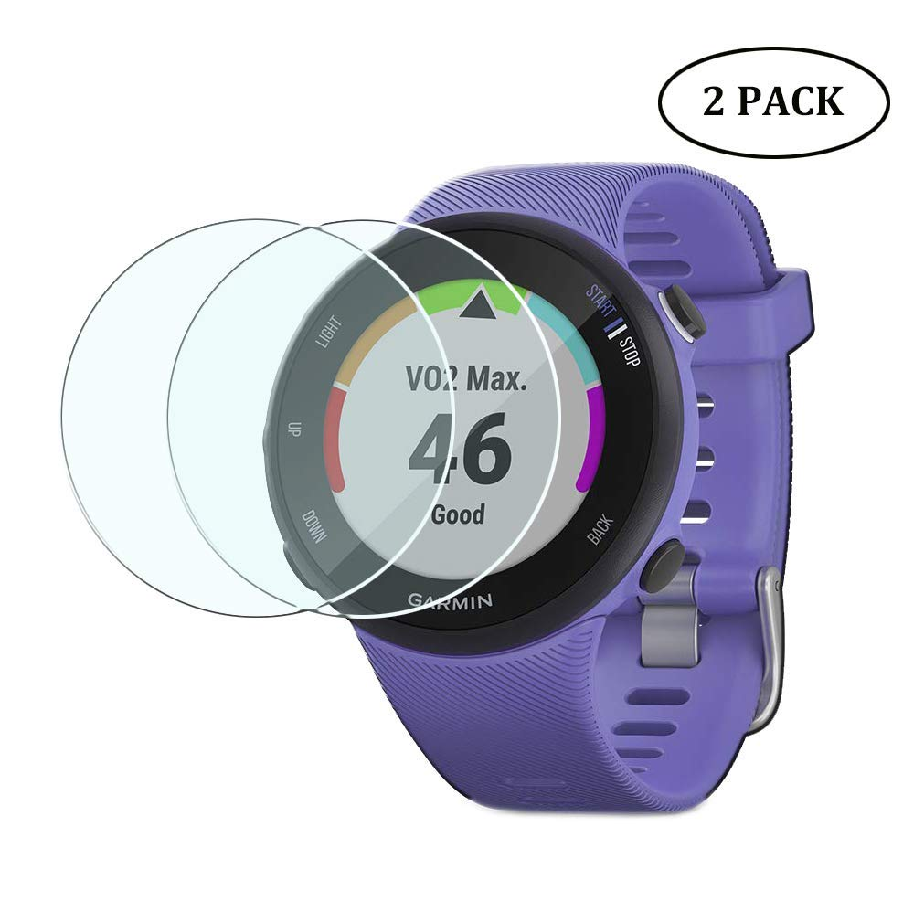 Duttek (2pack) 0.3mm Ultra-Thin 9H Hardness Scratch Resistant Tempered Glass Screen Protector Film for Garmin Forerunner 45/45S Smartwatch