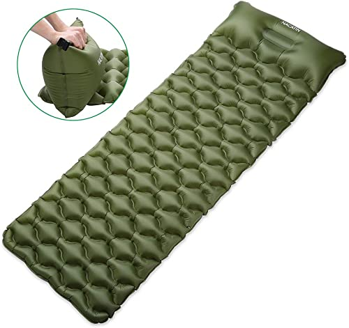 NACATIN Inflatable Sleeping Pads Ultralight Air Mattress Camping Mat with Integral Pillow for Backpacking, Max Load 330lb Compact Hiking Sleeping Pads