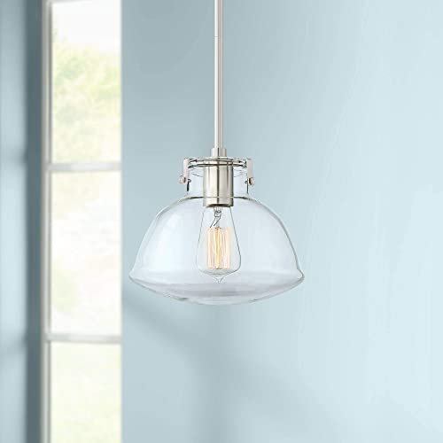 Celyn Brushed Nickel Mini Pendant Light 9 1 4 Wide Modern Industrial Clear Glass Shade Fixture for Kitchen Island Dining Room – Possini Euro Design
