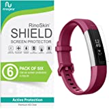 [6-Pack] RinoGear for Fitbit Alta HR Screen Protector [Active Protection] Full Coverage Flexible HD Crystal Clear Anti-Bubble Film