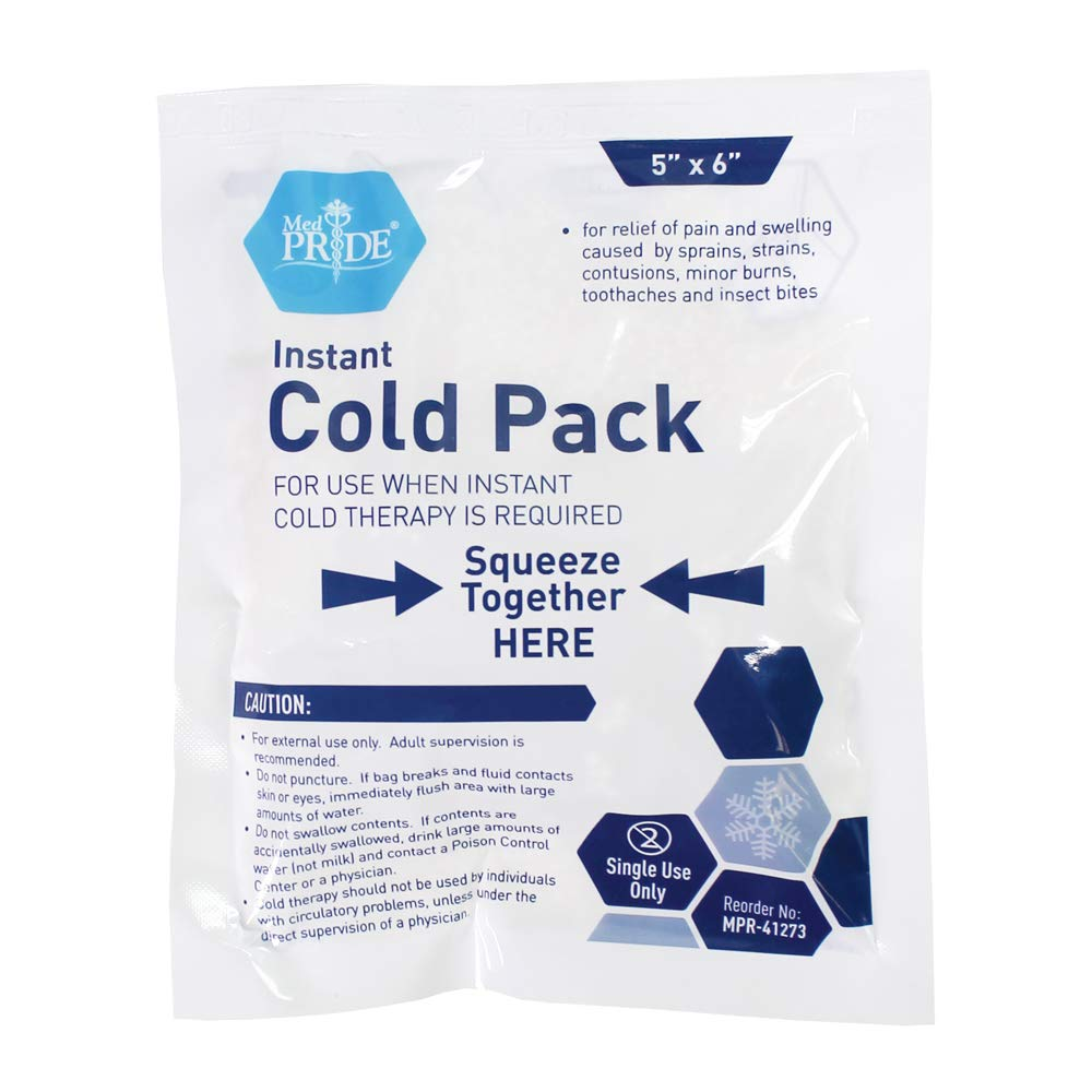Medpride Instant Cold Pack (5''x 6'') - Set of 24 Disposable Cold Therapy Ice Packs for Pain Relief, Swelling, Inflammation, Sprains, Strained Muscles, Toothache - for Athletes & Outdoor Activities