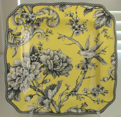 222 Fifth Adelaide Yellow Gray & White Salad Plates, Set of