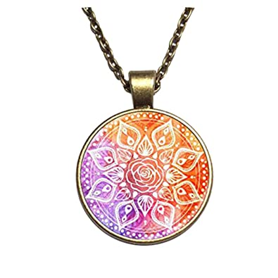 Estilo Retro largo collar de cadena Om Mandala Yoga joyería ...