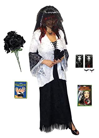 b47cac808a094 Amazon.com  Ghost Zombie Bride Plus Size Supersize Halloween Costume Deluxe  Kit  Clothing