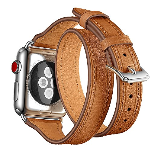 Balerion Double wrap Bands,Compatible with Apple Watch,Genuine Leather Double Tour Strap,Slim Replacement Wristband with Stainless Clasp for Apple iwatch Series 1 2 3,38mm Silver Clasp Brown Strap