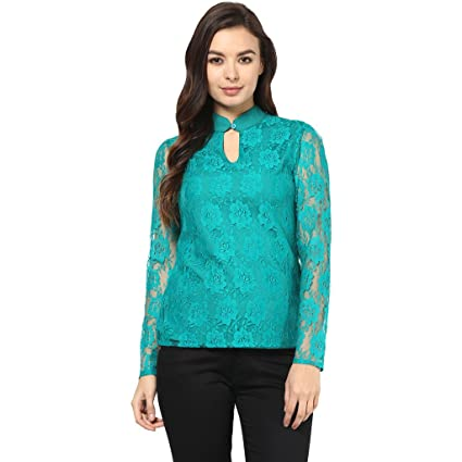Abiti Bella Women's Keyhole Green Lace Top Women's Tops at amazon