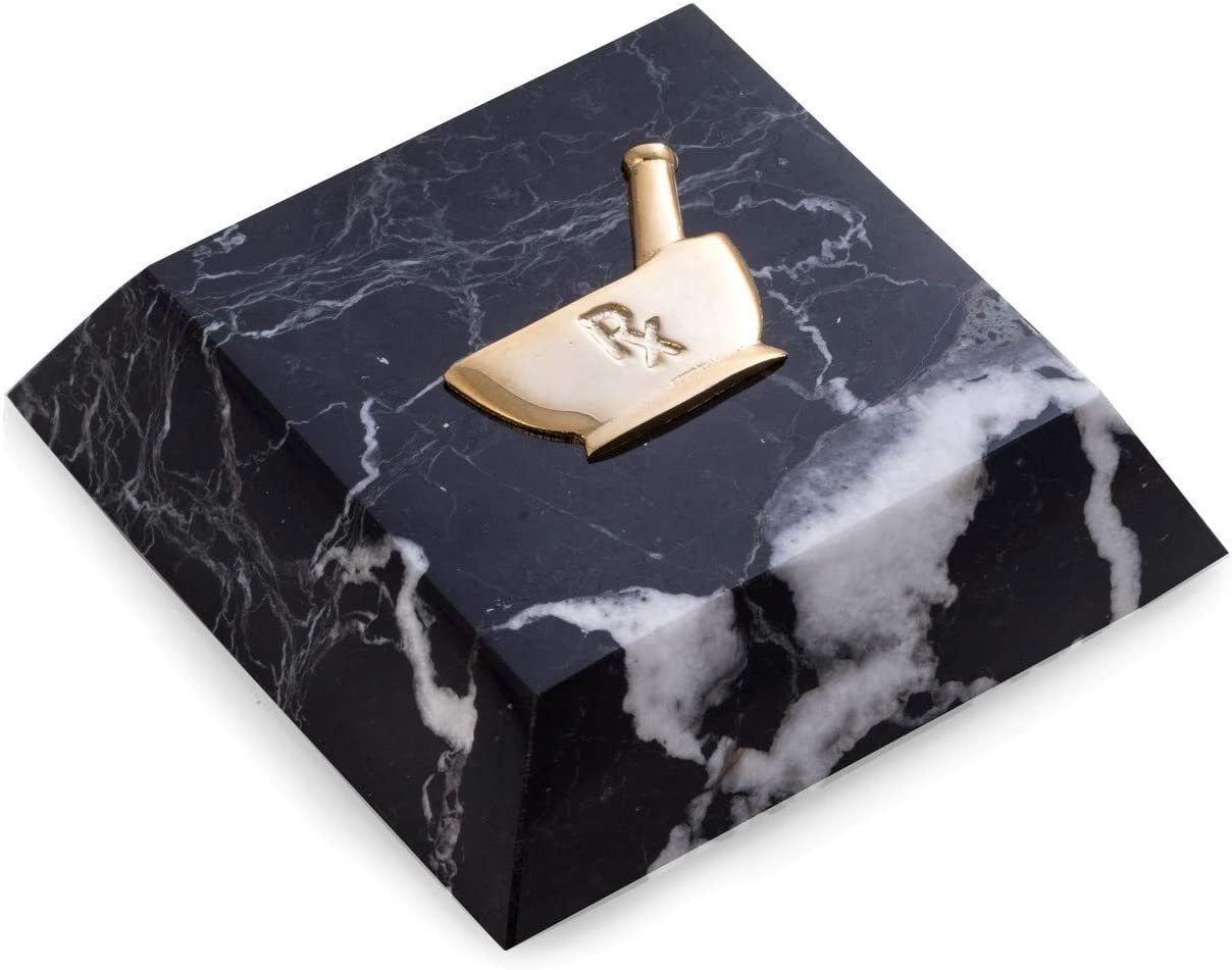 Black Zebra Marble Pharmacist Pharmacy Mortar and Pestle with RX Symbol Paperweight with Brass Emblem