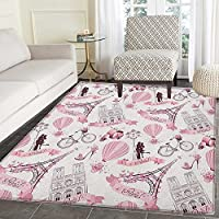 Eiffel Tower Rugs for Bedroom Travel in Paris Theme Honeymoon Flowers Romance Hot Air Balloon Bike Circle Rugs for Living Room 3x5 Pale Pink White