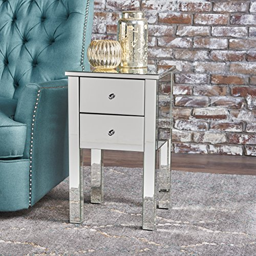 GDF Studio 301745 Seranade Mirror Finished 2 Drawer Side Table, Natural/Clear