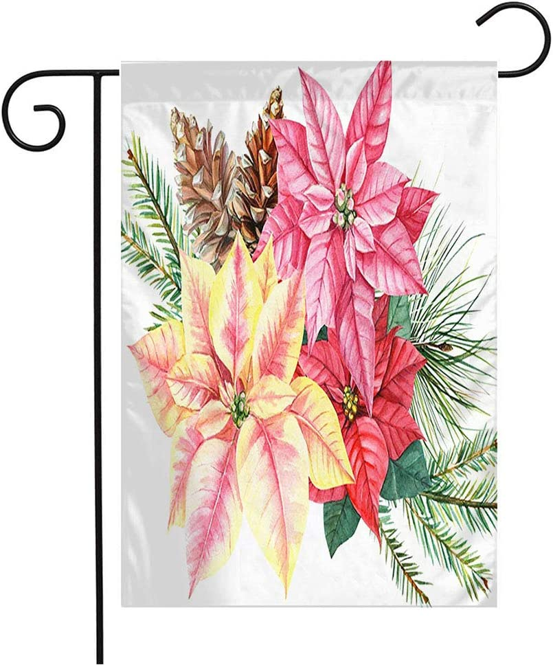 Anmbsk Garden Flag Welcome Flag Green Botanical Watercolor Christmas Flower Poinsettia Spruce Holidays Nature Pink Bouquet Cones 12x18 Inch Yard Flag Farmhouse Spring Summer Home House Lawn Decor