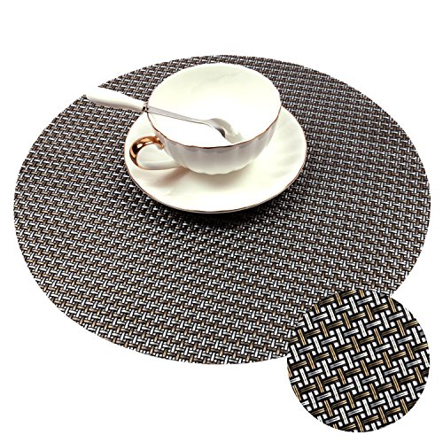 PAUWER 12.6-Inch Round Placemats For Dining Table Heat Insulation Stain-resistant Table Mats Washable Place Mats Woven Vinyl Placemats Set of 6 ( (Woven Top Dining Table)