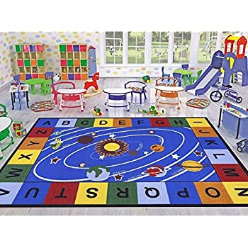 Ottomanson Jenny Collection Blue Base With Multi Colors Kids Childrens Educational Our Solar System Design Area