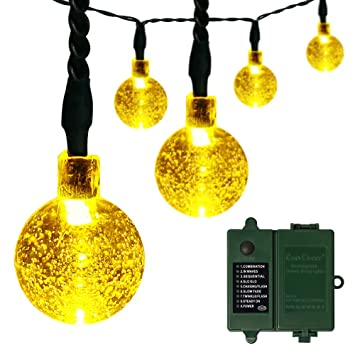 Outdoor Battery Operated String Lights With Timer: [Rechargeable Battery Included] Battery Operated String Lights with Timer,easyDecor  30 LED 21ft,Lighting