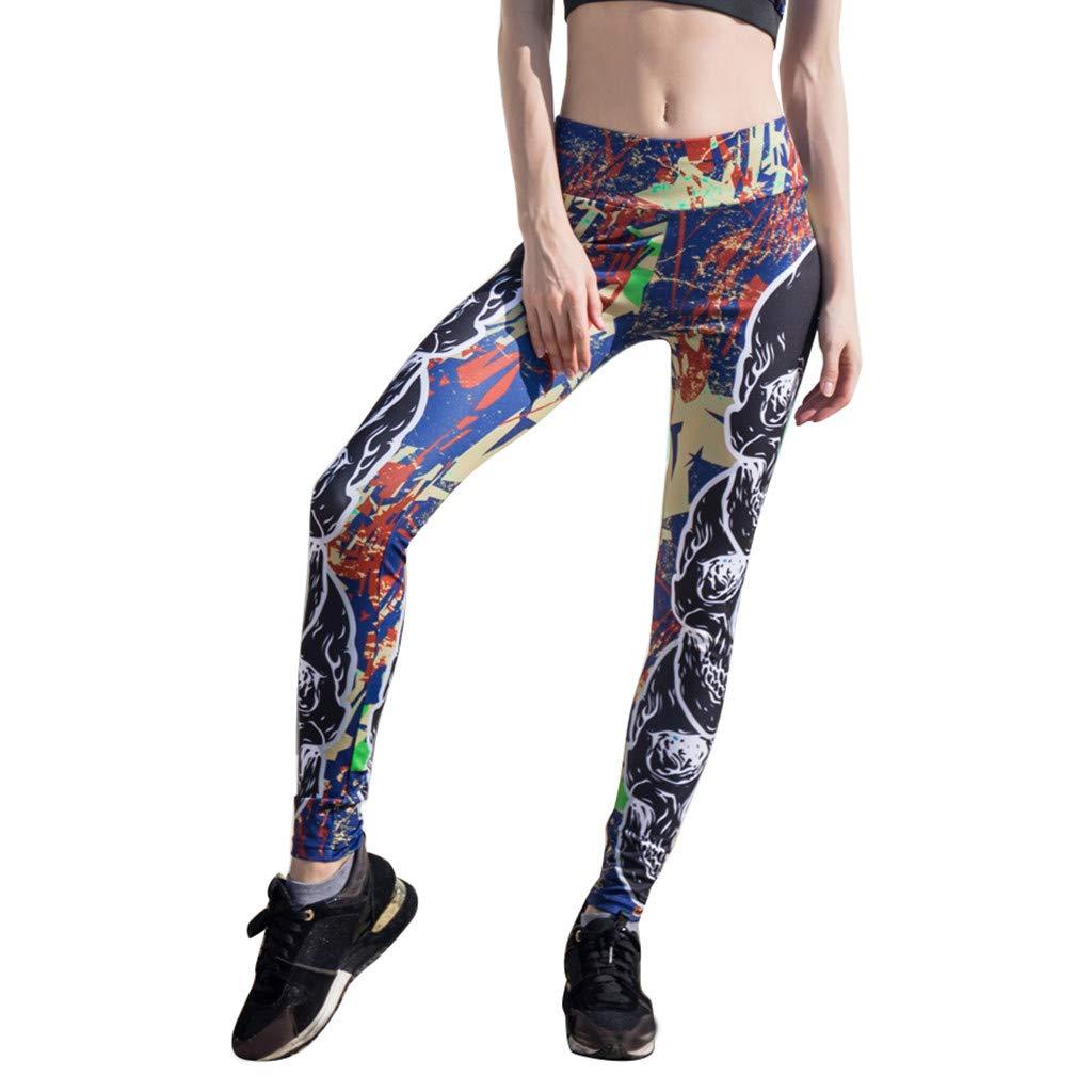 Women Sport Pants, High-Waist Yoga Pants Floral Printed Tummy Control Workout Running Leggings (XL, Black)
