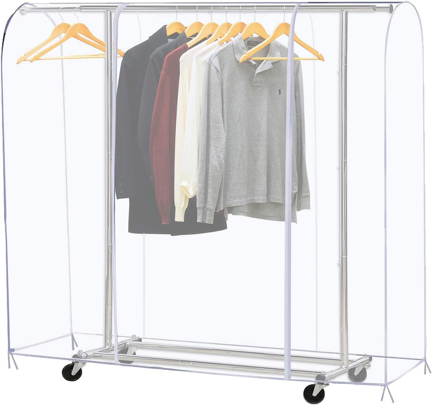 Becko Clear Garment Rack with Dustproof 1 year warranty Max 80% OFF Cover Clothes
