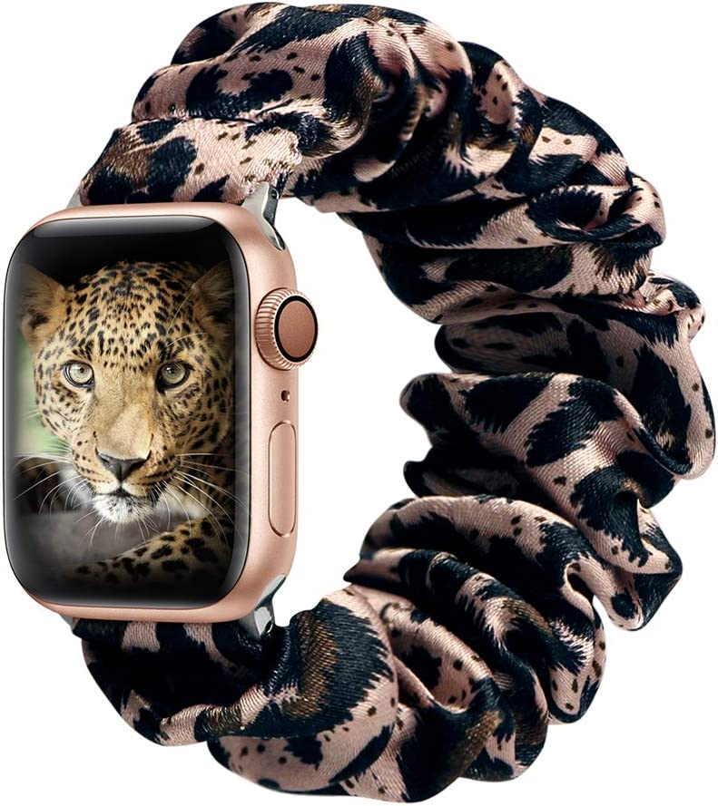 ALNBO Compatible with Apple Watch Band 38mm 40mm 42mm 44mm Soft Floral Fabric Elastic Scrunchies iWatch Bands for Apple Watch Series 6,SE,5,4,3,2,1 38mm/40mm RoseBrown Leopard S
