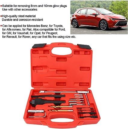 Kit di attrezzi per la rimozione delle candelette 16 pezzi Kit di strumenti per la rimozione delle candelette Estrattore per estrattore Strumento di riparazione 1//4in-28 UNF M10xP10 M8x1.0