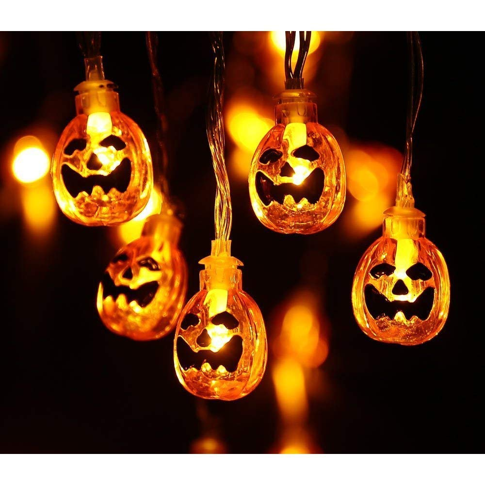 Sea Plan Halloween 3D Jack-O-Lantern Pumpkin Decorative String Lights 10.5 ft 30 LED Lights Battery Powered Interior Decoration Lights String Warm White