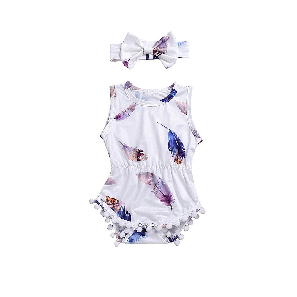 2PCS/Set Infant Kids Baby Girls Sleeveless 100% Cotton Romper Feather Jumpsuit+Headband (0-6 Months, White #1)