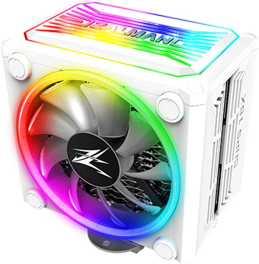 Zalman CNPS 16x, Real aRGB LED CPU Cooler with 4D Patented Corrugated Fin Design, Quiet 120mm RGB Fan, for Intel & AMD Ready (White)