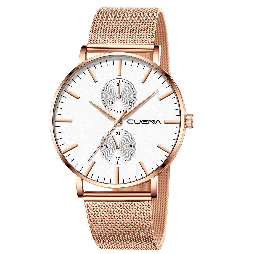 Minimalist Wrist Watches for Men, Unisex Analog Quartz Watch with Steel Mesh Strap 30m Waterproof by Bravetoshop(B)