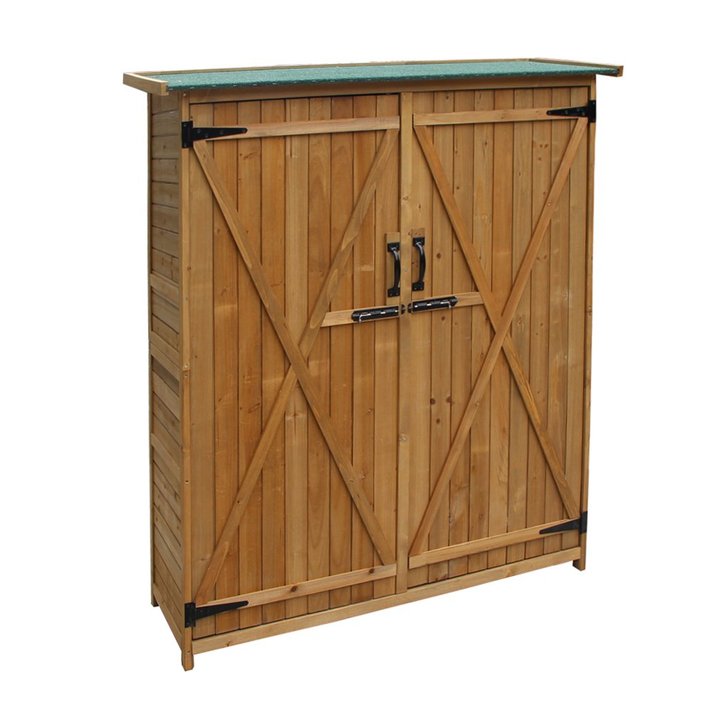 """64"""" Garden Storage Shed, Fir 100% Wooden Shed with Natural Wood Color, Fashionable Design with Double Doors Lockable Cabinet, Durable & Suitable for Storage"""