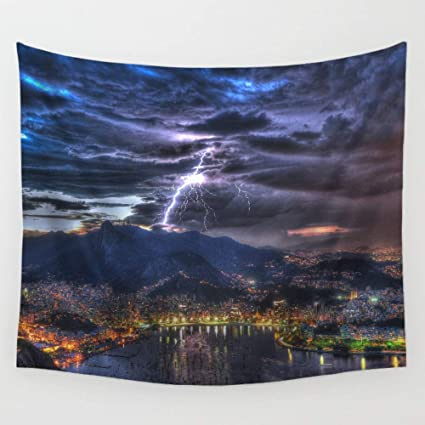 Amazon com: Tapestry Wall Hanging, Storm Cloud Lightning On