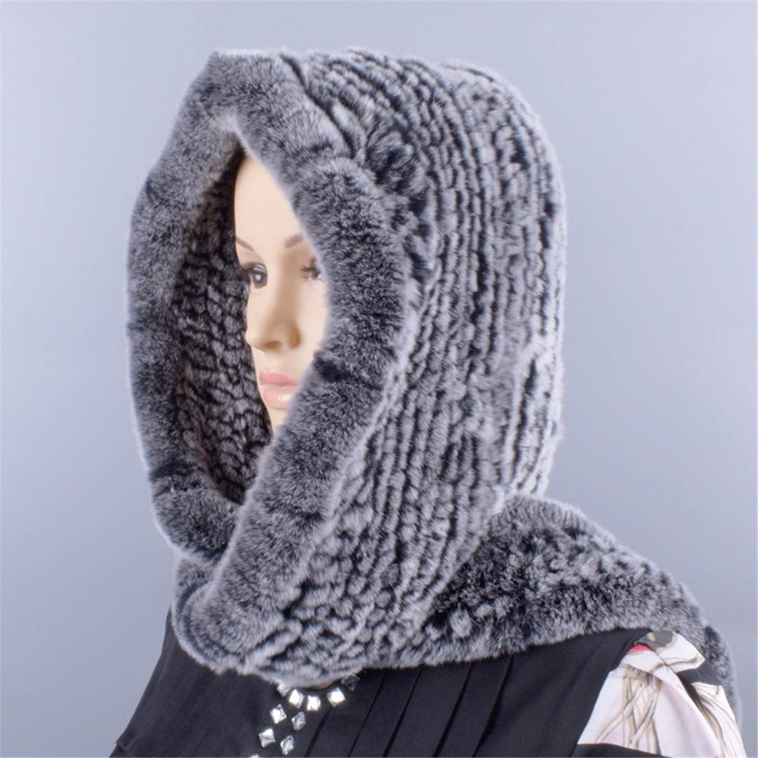 Knitted Fur Hood Real Rex Scarf Hat For Women Winter Snow Warm Large-Knitted Hat Black 56to59cm by Morussnta (Image #2)
