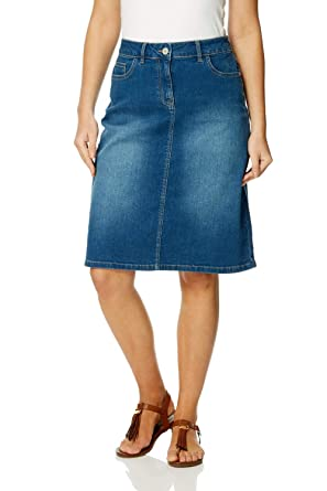 c55f6644fd Roman Originals Women A-Line Cotton Denim Skirt - Ladies Short Above Knee  Length Mini A-Line ...