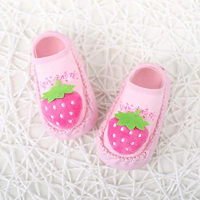 Fit 0-24 Months Baby HUHU833 Cartoon Newborn Baby Girls Boys Anti-Slip Socks Slipper Bell Boots
