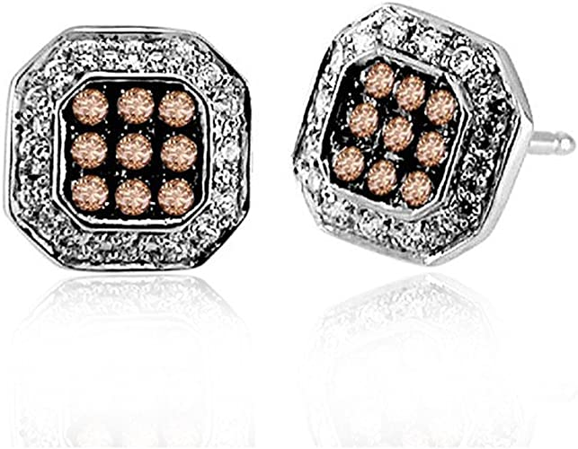Amazon Com 10k White Gold Square Shaped White And Brown Diamond Stud Earrings 1 3 Carat Jewelry