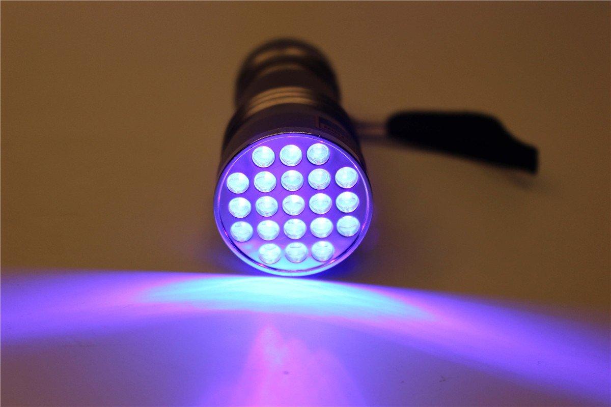 UV 395–400nm Wasserdicht 21LED Schwarzlicht Taschenlampe UV Fliegen Binden Kleber Härtung Licht Lampe Leuchte Tigofly