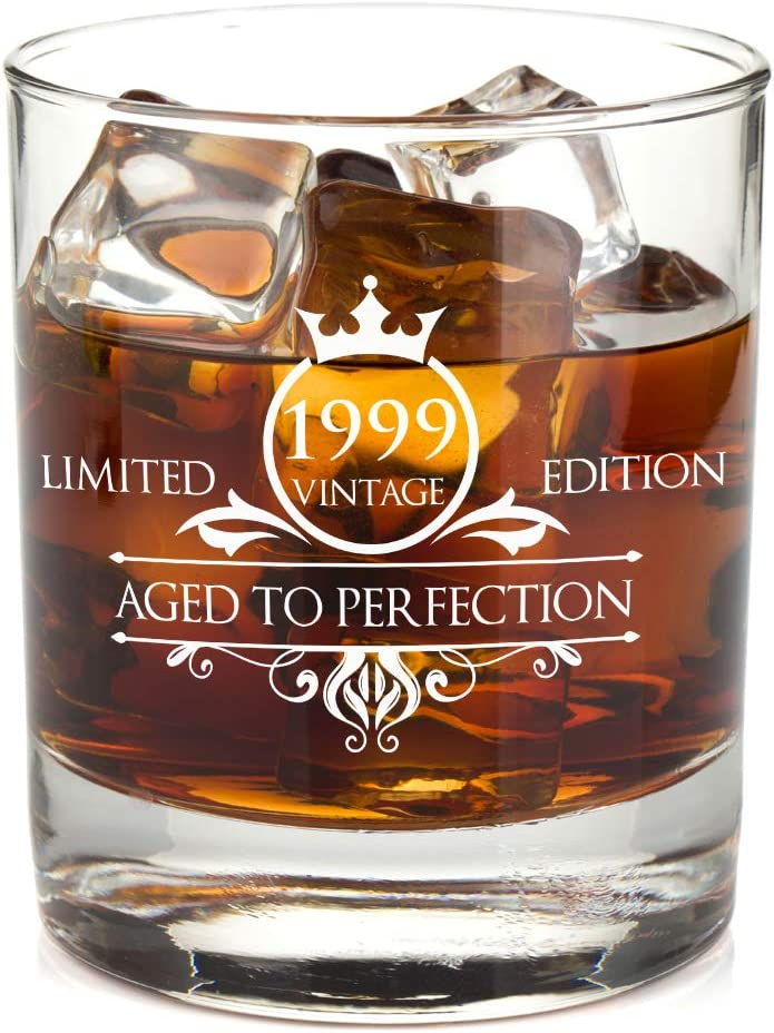 1999 21st Birthday Whiskey Glass for Men and Women - Vintage Aged To Perfection - Anniversary Gift Idea for Him, Her, Husband or Wife - Presents for Mom, Dad - 11 oz Bourbon Scotch Tumbler