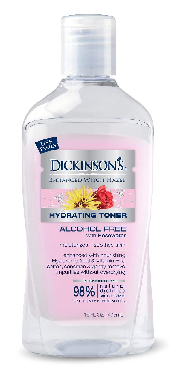 Dickinson's Enhanced Witch Hazel Alcohol Free Hydrating Toner with Rosewater , 16 Fluid Ounce