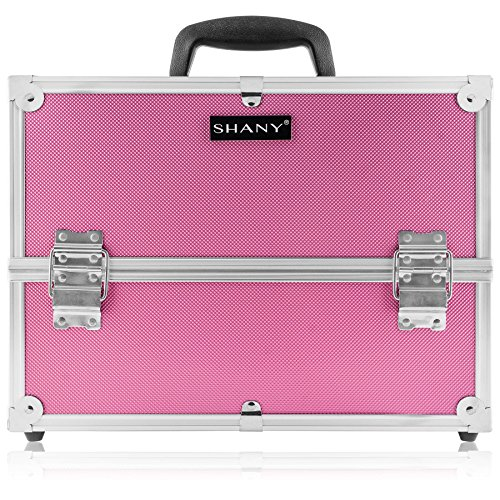 (SHANY Essential Pro Makeup Train Case with Shoulder Strap and Locks - Pink)