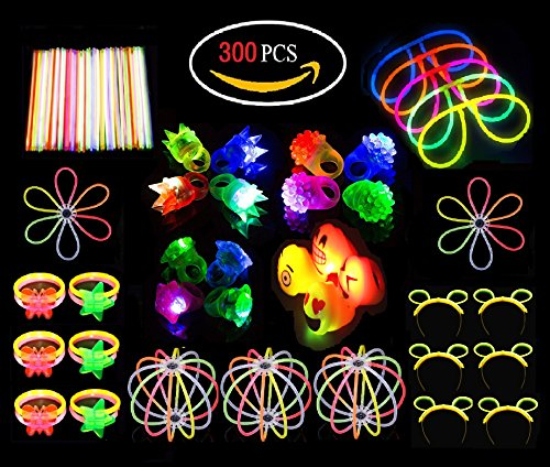 Ouker Glow In The Dark Toys Supplies:16 Pack LED Light Up Rings-Bulk Glow Sticks Assortment Like EyeGlasses,Bracelets,Butterfly,Perfect For Kids Birthday Party Favor,Classroom Rewards,Carnival Prizes