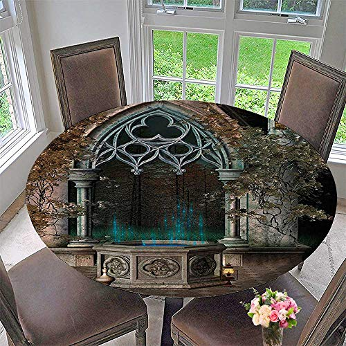 Mikihome Round Fitted Tablecloth Decor Mystical Patio with Enchanted Wishing Well Ivy on Antique Gateway to Magical for All Occasions 31.5