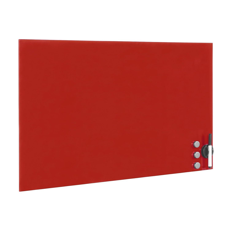 Lavagna di vetro magnetica rossa Lavagna da parete 100 x 60 cm