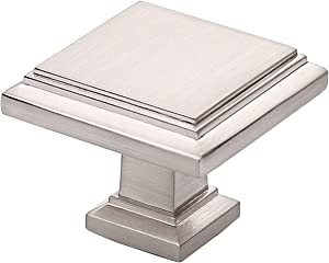 Alzassbg AL6071SN Brushed Satin Nickel, 1.3 Inch(32mm) Cabinet Hardware Square Knobs for Cupboard and Drawer 10 Pack