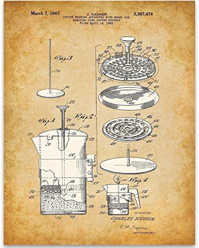 Coffee Press Art Print - 11x14 Unframed Patent Print - Great Kitchen or Coffee Shop Decor ()
