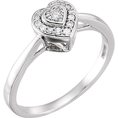 a729e8d55924fa Image Unavailable. Image not available for. Color: FB Jewels 10k White Gold  .08 CTW Diamond Heart Promise Ring ...