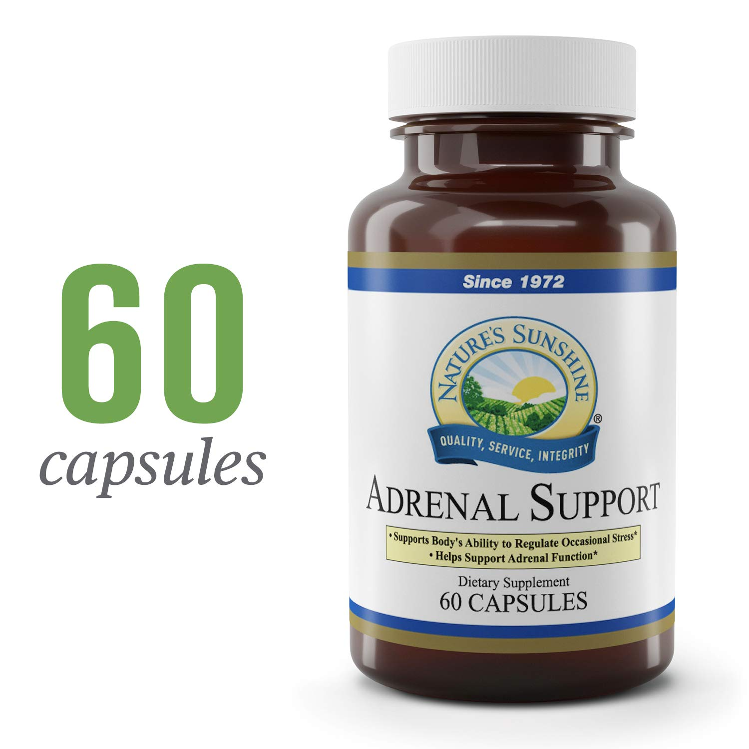 Nature's Sunshine Adrenal Support, 60 Capsules   Stress Relief Supplement Assists the Body in Maintaining Normal Adrenal Function and Regulating Stress