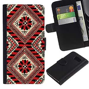 Paccase / Billetera de Cuero Caso del tirón Titular de la tarjeta Carcasa Funda para - Pattern Lines Red Black Floral White - Samsung Galaxy S6 SM-G920