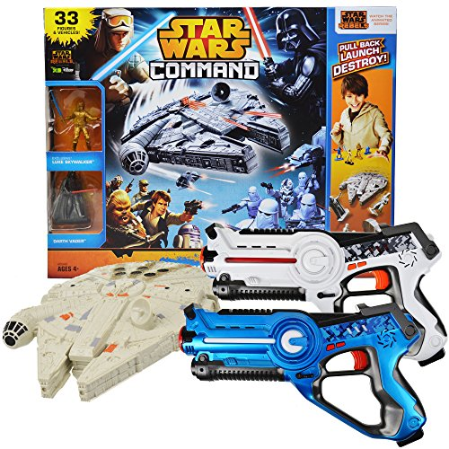 [Power Brand Star Wars Millennium falcon Toy Bundle with Laser Tag Pack of 2] (Luke Skywalker Dark Side Costume)