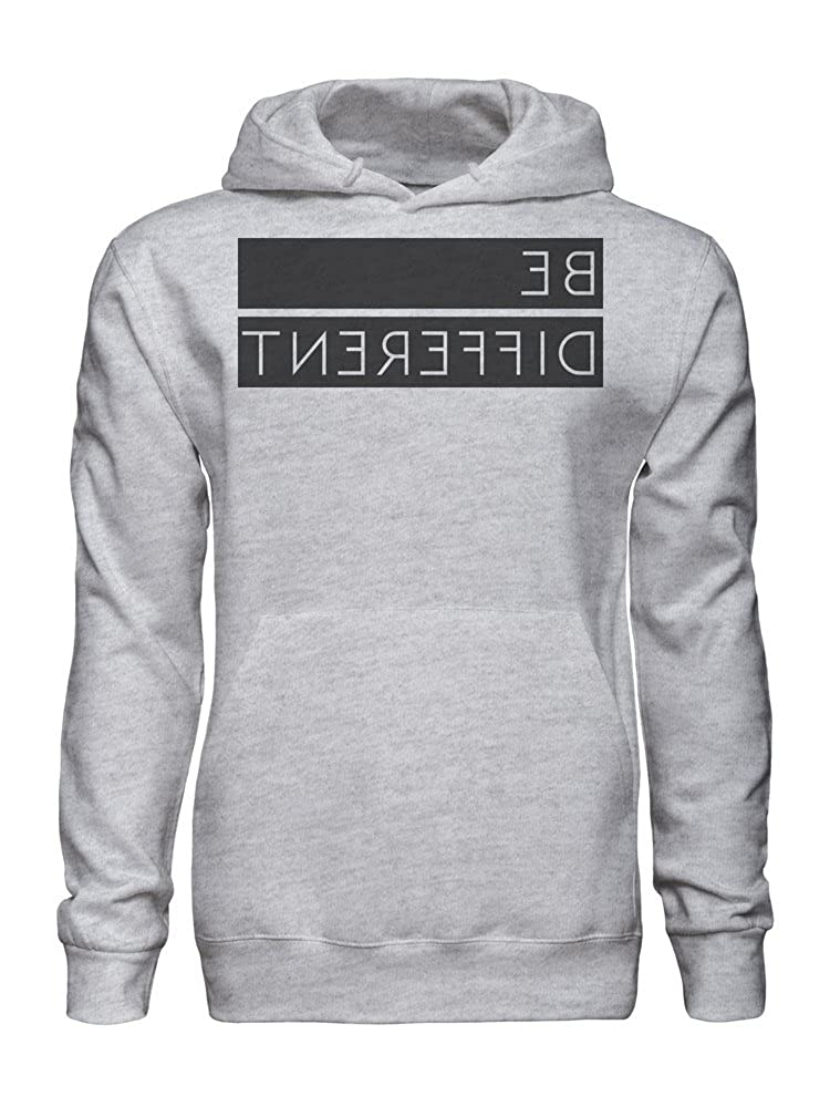 graphke Be Different Backwards Text Mens Hoodie