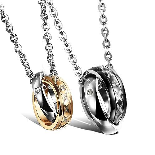COPAUL 2 piezas de acero inoxidable que entrelaza los anillos de matrimonio de compromiso pendientes de